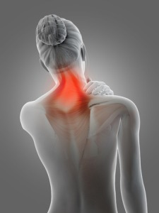 26947247 - a woman having acute pain in the neck muscles