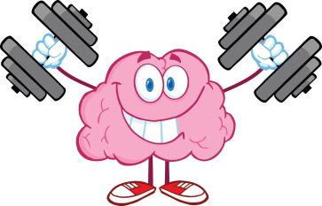 21020847 - smiling brain cartoon character training with dumbbells